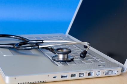 Stethoscope on a laptop keyboard